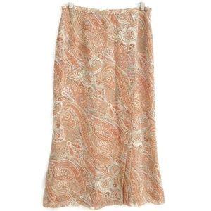 Talbots Silk Wrap Skirt Paisley Lined Career  8P
